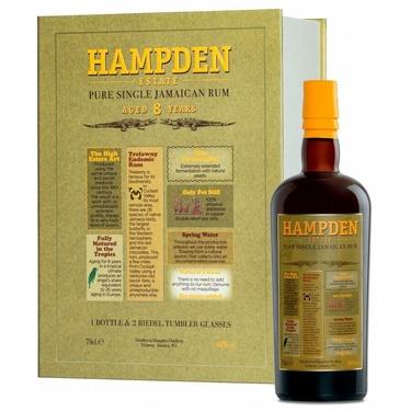 Coffret Rhum Jamaique Hampden 8 Ans 46% 70cl  2 Verres